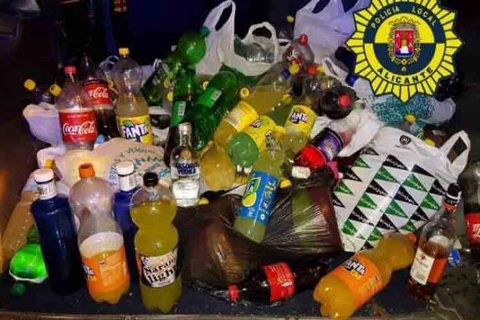 Requisados 200 litros de alcohol en un macrobotellón en Alicante