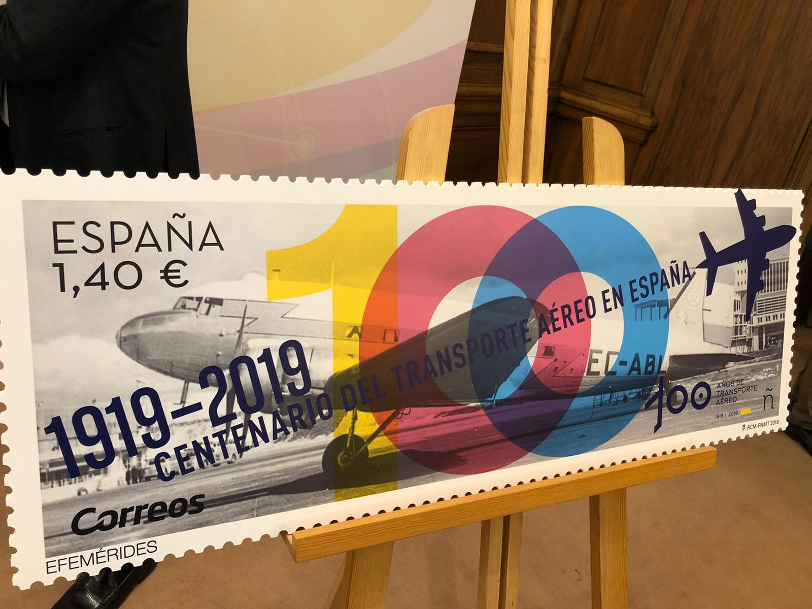 Correos emite un sello conmemorando el Centenario del Transporte Aéreo