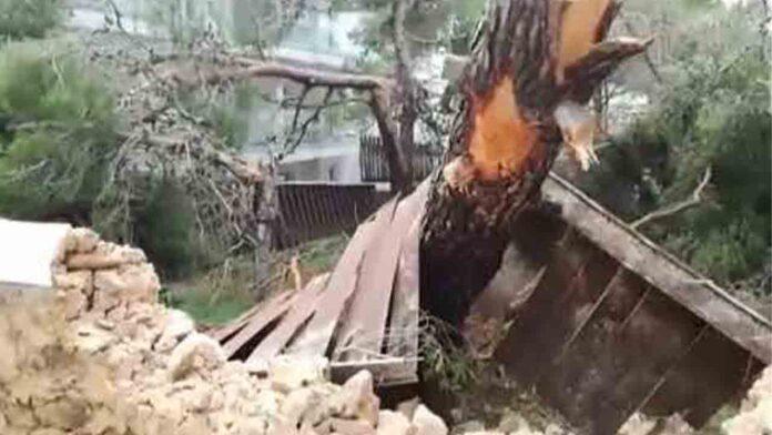 Graves daños en Ibiza por el temporal en la zona de Sant Antoni