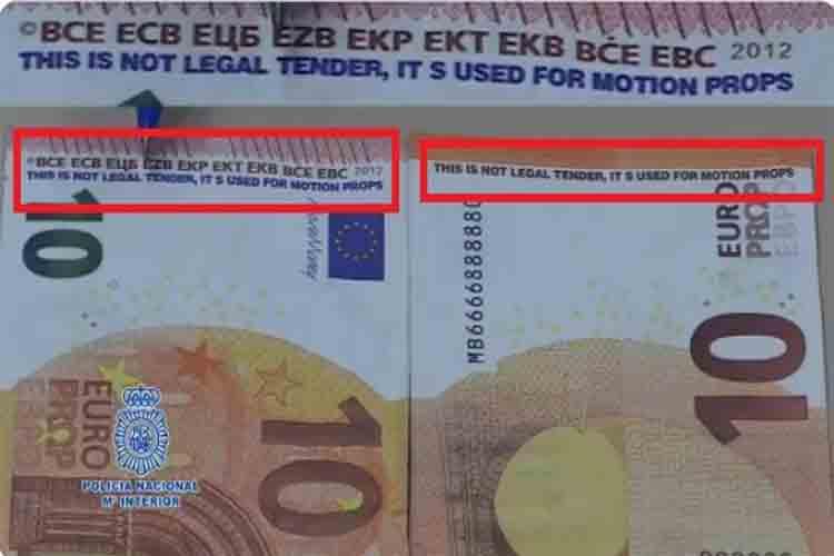 La policía alerta sobre los billetes falsos usados en rodajes de películas
