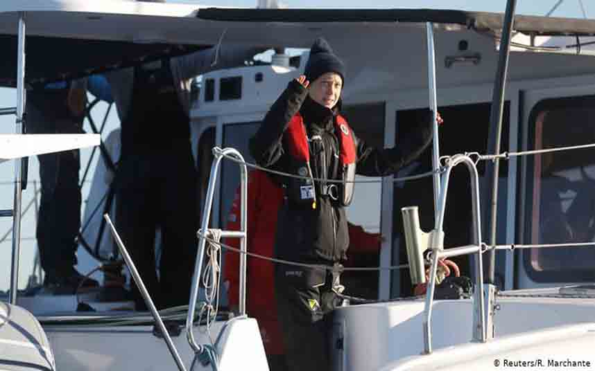 Greta Thunberg atraca en Portugal para llegar a la COP25 en Madrid