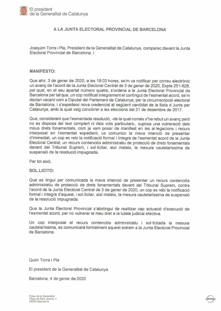 Torra anuncia un recurso al Supremo y reclama a la Junta que paralice la inhabilitación