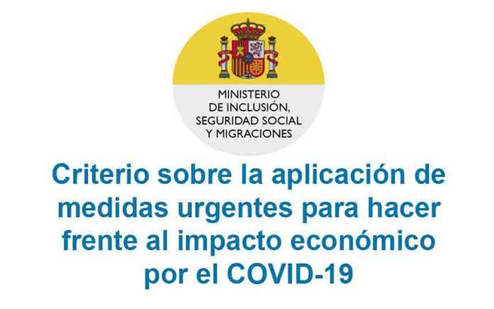 Criterio sobre la aplicación de medidas urgentes para hacer frente al impacto económico