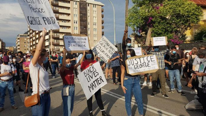 Concentración en el consulado de EE.UU. en Barcelona por la muerte de George Floyd