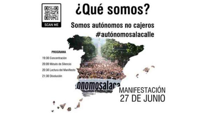 Manifestaciones de autónomos en toda España este sábado a las 19:30