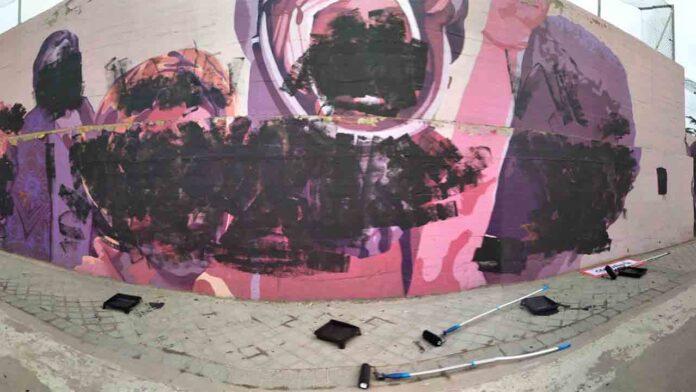 Aparece vandalizado el mural feminista de Ciudad Lineal