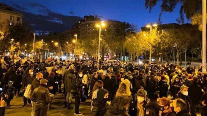 Manifestación en apoyo a Pablo Hasel en Barcelona