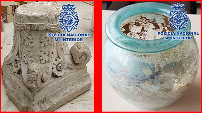 Recuperadas dos piezas arqueológicas romanas expoliadas en Granada