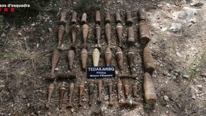 Encuentran en un pueblo de Tarragona 32 explosivos de la Guerra Civil