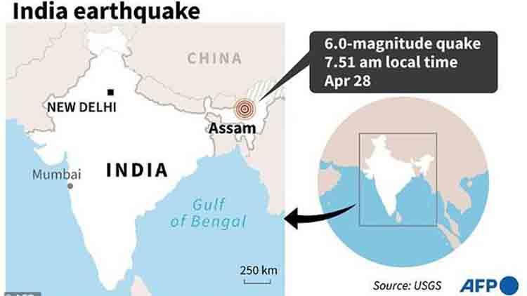 India sufre un terremoto de magnitud 6