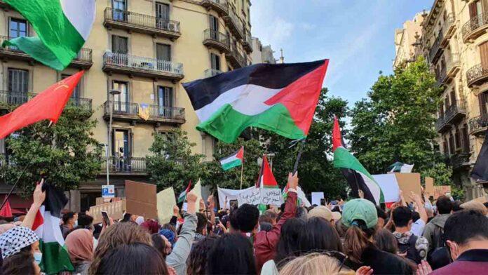Concentración de apoyo a Palestina en la delegación del Gobierno en Barcelona