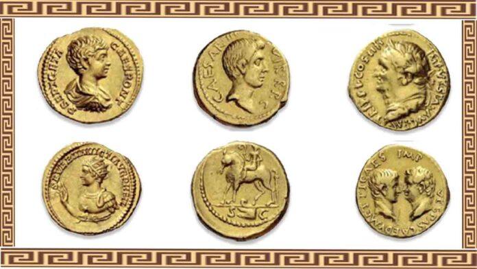 Recuperadas en Barcelona tres monedas áureos del Imperio Romano