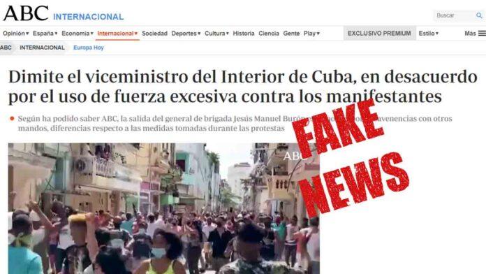 El diario ABC se une a los Fake News para la desestabilización de Cuba