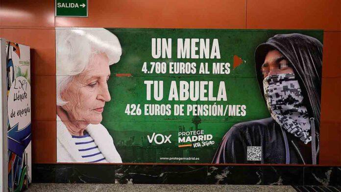 La Audiencia de Madrid 'apoya a Vox sobre el delito de odio' de los carteles del Metro
