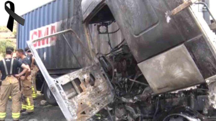 Fallece un camionero al incendiarse su camión en la A-2 en Cervera