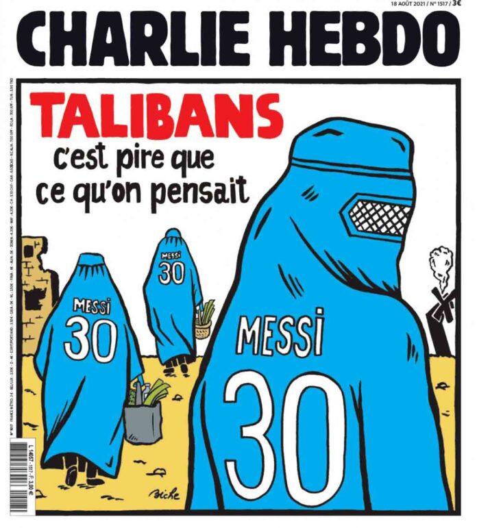 Una portada de Charlie Hebdo vincula a Messi y el PSG con los talibanes